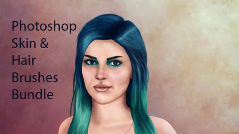Photoshop Skin & Hair Brushes Bundle