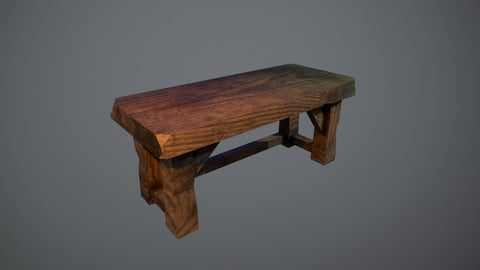 Low Poly Wooden Table