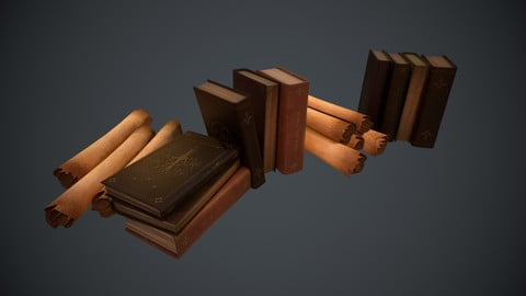 Books and Scrolls - Low Poly