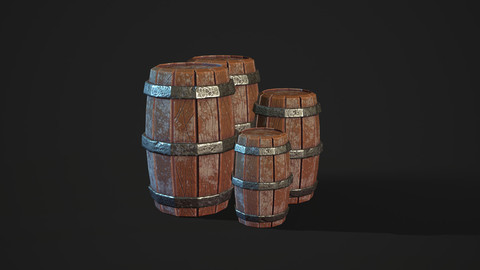 Highly Detailed Stylized Low Poly Barrel