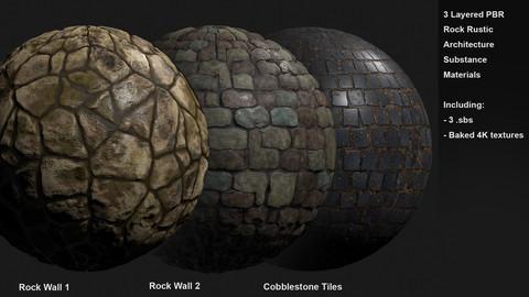3 Rock Architecture Rustic Customizable Materials