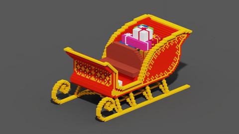 Voxel Santa Claus Cart