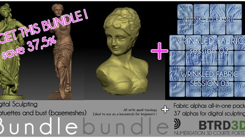 Bundle - Digital Sculpting basemeshes + 37 alphas wrinkled fabric
