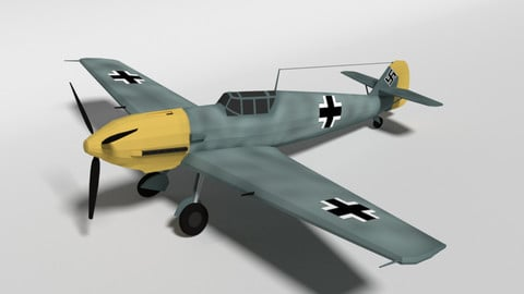 Low Poly Cartoon Messerschmitt Bf 109E-3 Emil WW2 Airplane