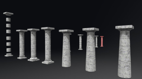 100% Game Ready Greek Doric Order Columns Pack (Unity Package Included)