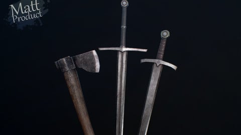 Medieval Simple Weapons - One hand sword, Two hand sword, Axe