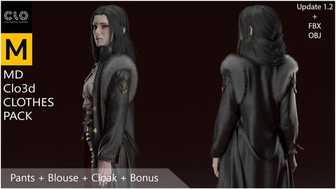 Marvelous Designer, Clo3d clothes pack. Pants + Blouse + Cloak + Bonus boot