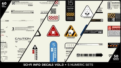 SCI-FI Info Decals VOL.3 + Five Numeric Sets