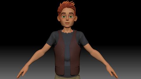 ZBrush Stylized Character Boy Base Mesh - Blue Boy Style 1