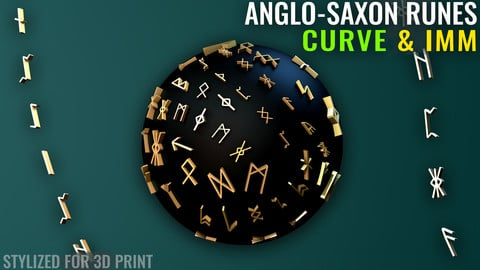 Anglo-Saxon Runes Curve & IMM - Zbrush - Stylized for 3D Print