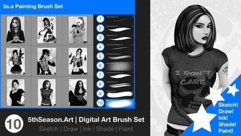 Digital Art Sketch, Draw and Paint Brush Set
