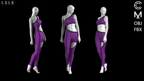 Women's sporty look! Purple body suit