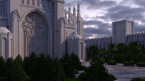 high detailed gothic palace animated , 3dsmax model ,ty flow particles