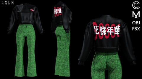 Women's Casual Outfit with chinese character printed sweatshirts, snakeskin pants - Marvelous Designer, CLO3D
