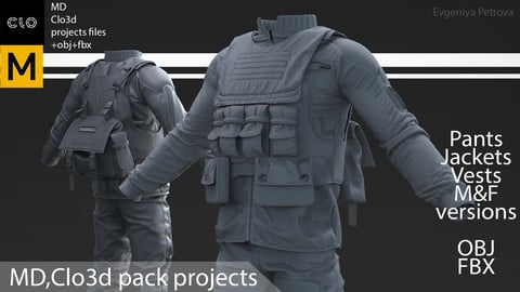 Marvelous Designer,Clo3d project. + obj+ fbx №D5. Tactical, military outfit. M&F versions