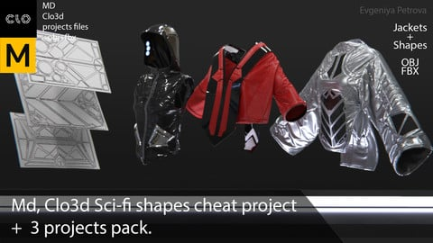 Md, Clo3d Sci-fi shapes cheat project +  3 projects pack(Jackets). + obj+ fbx. №D6