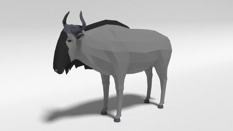 Low Poly Cartoon Gnu Wildebeest Antelope