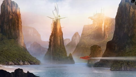 LAYERED PSD File of EXOTIC  LANDSCAPE Concept Matte Painting