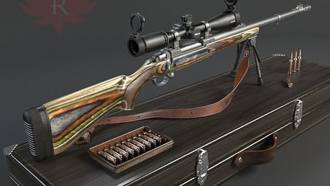 RIFLE GUN HIGH DETAILED WITH BULLETS