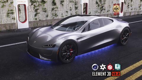 Tesla Roadster Interior 3D Model & Physics Rig