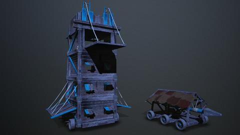 Siege tower battering-ram