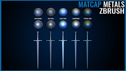 Metal Matcap Pack - Zbrush Matcaps