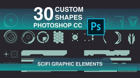 30 Scifi Graphic Custom Shapes for Photoshop CC