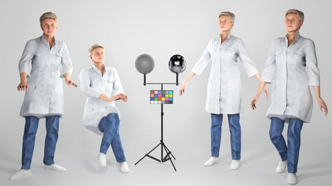 Animated medical doctor female: walking, sitting, working 141