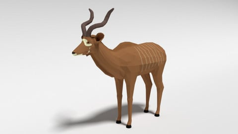 Low Poly Cartoon Greater Kudu Antelope