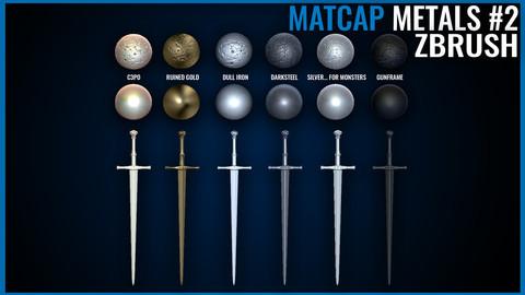 Metal Matcap Pack - Zbrush Matcaps 2