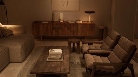| UE4| NIGHT | Realism Vintage Style Living Room NIGHT Scene in UE4
