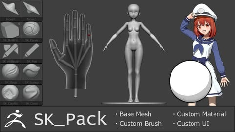 SK_Pack(Custom brushes and base meshes for ZBrush)