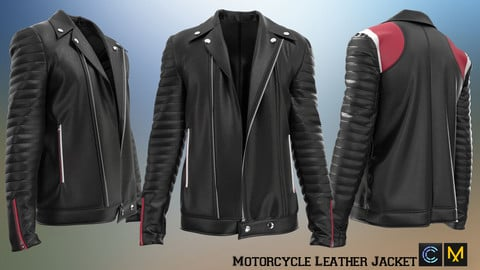 Motorcycle Leather Jacket, Marvelous designer, Clo3d