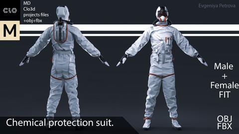 Clo3d, MD projects+OBJ+FBX.  Chemical protection suit. M+F Fit D№7