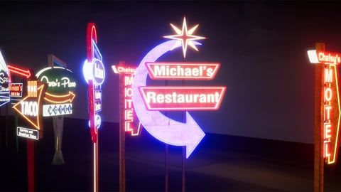 Retro Googie Neon Sign Pack (Illuminated), American Diner Style