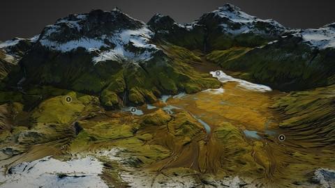 Iceland landscape - World Machine 3D model