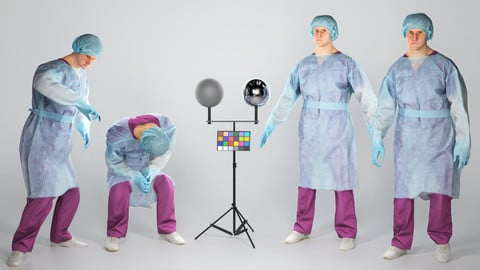 Animated surgical doctor in sterile gloves and hat 85