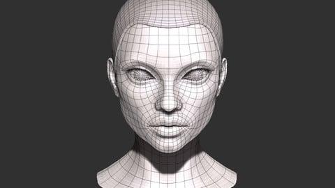 Female head base mesh Low-poly