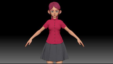 ZBrush Stylized Character Girl Base Mesh - Amy Girl Style 24