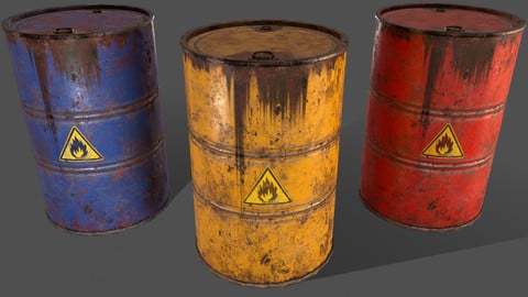 PBR Oil Drum Barrel A1 - Flammable Explosive Chemical