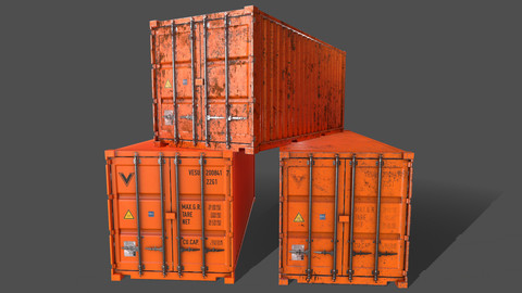 PBR 20 ft Shipping Cargo Container Version 1 - Orange