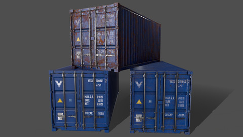 PBR 20 ft Shipping Cargo Container Version 1 - Blue