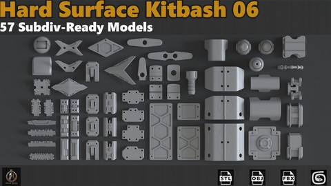 Hard Surface Sci-Fi Industrial KitBash Library 06 - SubDiv Ready