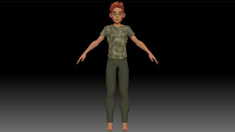 ZBrush Stylized Character Boy Base Mesh with Clothes - Blue Boy Style 3