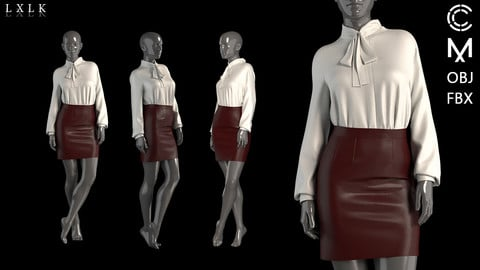 Silk bow blouse &  Leather skirt