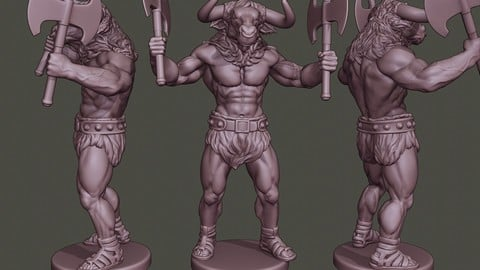 Minotaur Warrior Stand4 two Axes