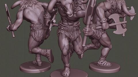 Minotaur Warrior Running two Axes