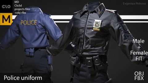 Clo3d, MD projects+OBJ+FBX. Police uniform. M+F Fit D№8