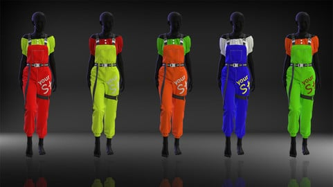 Women Overall Outfit - 31 Marvelous Designer and Clo3D