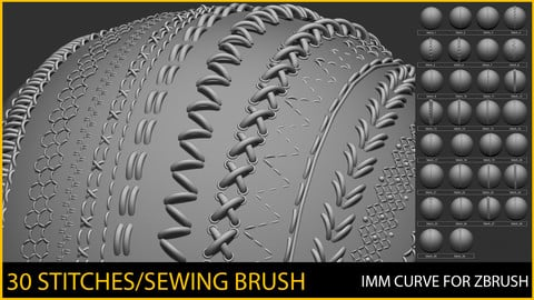 30 IMM Stitches/Sewing  Brush for Zbrush